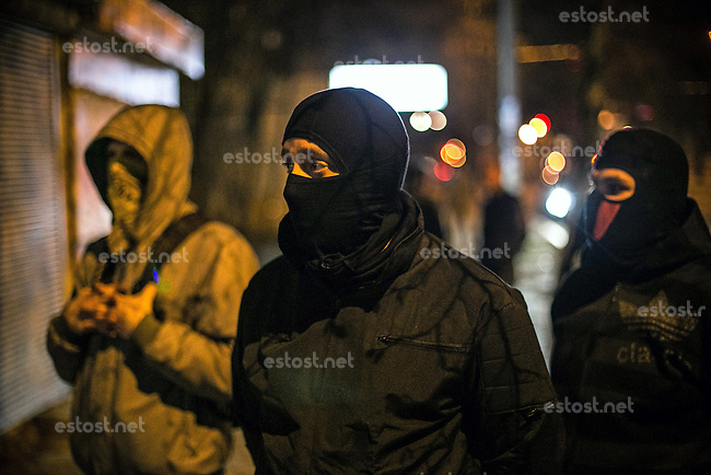 Right sector activists expose and stop the illegal  unofficial gambling establishment during their night mission in streets of Kiev.