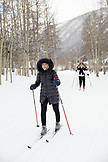 USA, Colorado, Aspen, cross country skiers ski to the Pine Creek Cookhouse for dinner, Ashcroft