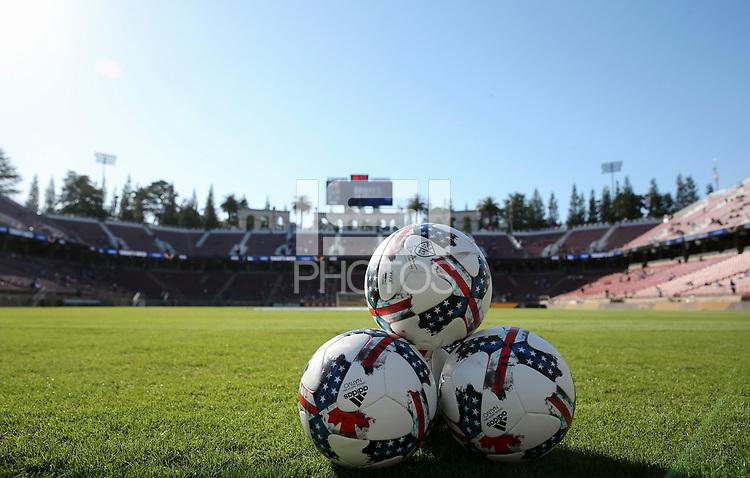 San Jose, CA - Saturday July 01, 2017: Adidas balls during a Major League Soccer (MLS) match between the San Jose Earthquakes and the Los Angeles Galaxy at Avaya Stadium.