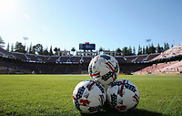 San Jose, CA - Saturday July 01, 2017: Adidas balls during a Major League Soccer (MLS) match between the San Jose Earthquakes and the Los Angeles Galaxy at Avaya Stadium.