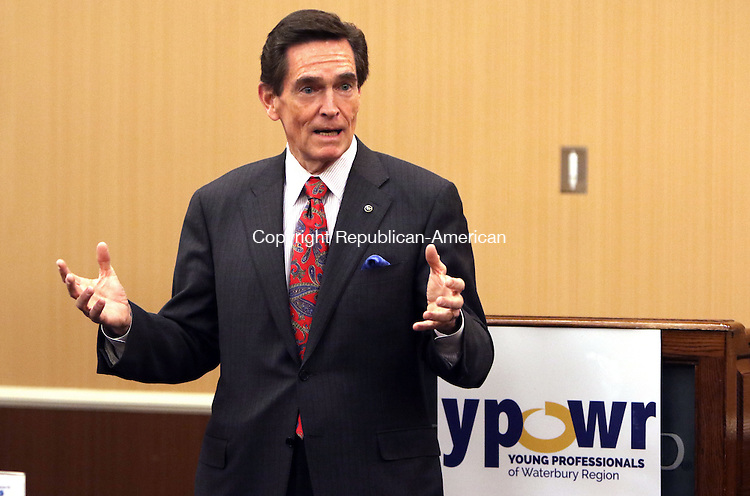 WATERBURY CT. 22 January 2016-012216SV01-James C. Smith, chairman and CEO of Webster Bank, speaks during the Young Professionals of Waterbury Region meeting in Waterbury Friday. The YPOWR meeting was  a Waterbury Regional Chamber event.<br /> Steven Valenti Republican-American
