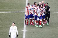 Atletico de Madrid's players celebrates the victory in La Liga match in presence of Real Madrid's Chicharito dejected.February 7,2015. (ALTERPHOTOS/Acero) /NORTEphoto.com