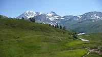 Svizzera, Passo del Sempione, sullo sfondo le Alpi Bernesi con il Bietschhorn e il Fletschhorn.<br /> Switzerland, Simplon Pass, in the background the Bernese Alps with the Bietschhorn and the Fletschhorn.