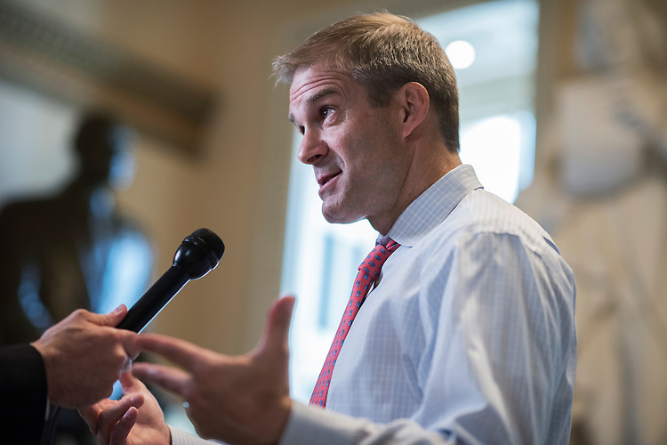 UNITED STATES - JULY 12: Rep. Jim Jordan, R-Ohio, is interviewed in the Capitol during a break in a House Judiciary Committee hearing in Rayburn Building featuring testimony by Attorney General Loretta Lynch on Justice Department issues ranging from recent domestic terrorist attacks to the investigation of Hillary Clinton's private email server, July 12, 2015. (Photo By Tom Williams/CQ Roll Call)