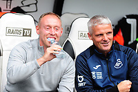 Steve Cooper Head Coach of Swansea City and Mike Marsh, assistant first team coach for Swansea City during the Sky Bet Championship match between Derby County and Swansea City at Pride Park Stadium in Derby, England, UK. Saturday 10 August 2019
