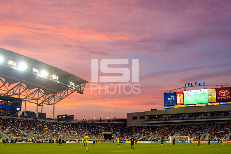 General view of PPL Park at sunset. The Columbus Crew defeated the Philadelphia Union 2-1 during a Major League Soccer (MLS) match at PPL Park in Chester, PA, on August 05, 2010.