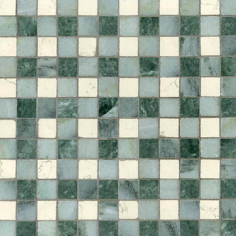 Bonnie, a stone mosaic field shown in Bianco Antico, Kay's Green and Wujan Jade.