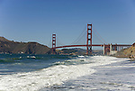 San Francisco: Baker Beach with Golden Gate Bridge in background.  Photo # 2-casanf83318.  Photo copyright Lee Foster