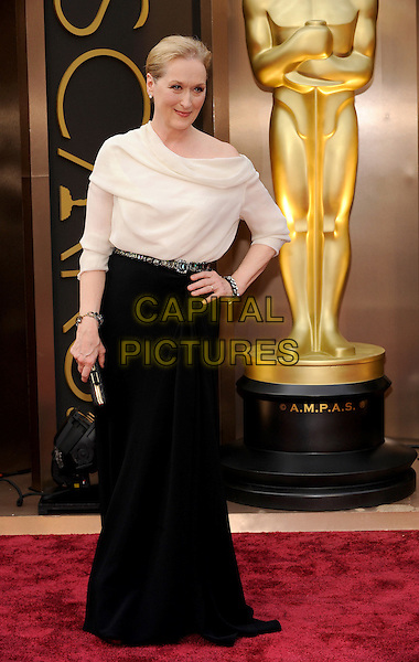 HOLLYWOOD, CA - MARCH 2: Meryl Streep arriving to the 2014 Oscars at the Hollywood and Highland Center in Hollywood, California. March 2, 2014. <br /> CAP/MPI/COR<br /> &copy;Corredor99/ MediaPunch/Capital Pictures