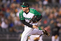 Dayton Dragons relief pitcher Aaron Quillen (25) follows through on his delivery against the Bowling Green Hot Rods at Fifth Third Field on June 8, 2018 in Dayton, Ohio. The Hot Rods defeated the Dragons 11-4.  (Brian Westerholt/Four Seam Images)