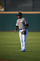 Inland Empire 66ers second baseman Jahmai Jones (8) during a California League game against the Lancaster JetHawks at San Manuel Stadium on May 19, 2018 in San Bernardino, California. Inland Empire defeated Lancaster 9-6. (Zachary Lucy/Four Seam Images)