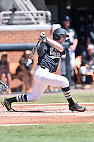 Vanderbilt Commodores third baseman Will Toffey (9) swings at a pitch during a game agains against the Tennessee Volunteers at Lindsey Nelson Stadium on April 24, 2016 in Knoxville, Tennessee. The Volunteers defeated the Commodores 5-3. (Tony Farlow/Four Seam Images)