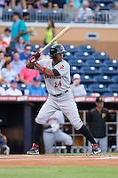 Keon Broxton (24) of the Indianapolis Indians at bat against the Durham Bulls at Durham Bulls Athletic Park on August 4, 2015 in Durham, North Carolina.  The Indians defeated the Bulls 5-1.  (Brian Westerholt/Four Seam Images)