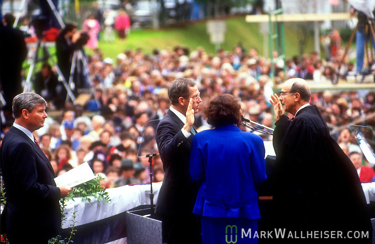Jim Smith being sworn in as Florida Attorney General under new 41st Governor Lawton Chiles on January 7, 1991 in front of the historic Florida Capitol in Tallahassee, Florida.
