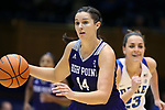 DURHAM, NC - NOVEMBER 16: High Point's Shea Morgan. The Duke University Blue Devils hosted the High Point University Panthers on November 16, 2017 at Cameron Indoor Stadium in Durham, NC in a Division I women's college basketball game. Duke won the game 77-50.