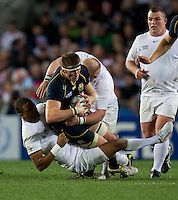 Rugby World Cup Auckland England v Scotland  Pool B 01/10/2011. Courtney Lawes (England)  tackles John Barclay  (Scotland).Photo  Frey Fotosports International/AMN Images