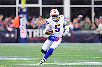 Sunday, October 2, 2016: Buffalo Bills quarterback Tyrod Taylor (5) runs with the ball during the NFL game between the Buffalo Bills and the New England Patriots held at Gillette Stadium in Foxborough Massachusetts. Buffalo defeats New England 16-0. Eric Canha/Cal Sport Media