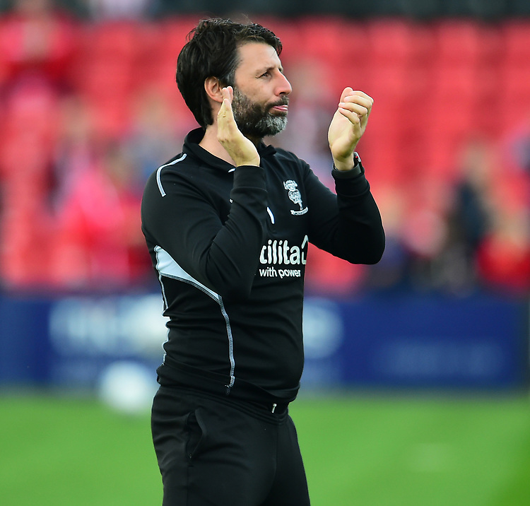 Lincoln City manager Danny Cowley during the pre-match warm-up<br /> <br /> Photographer Andrew Vaughan/CameraSport<br /> <br /> The EFL Sky Bet League Two - Lincoln City v Macclesfield Town - Saturday 30th March 2019 - Sincil Bank - Lincoln<br /> <br /> World Copyright © 2019 CameraSport. All rights reserved. 43 Linden Ave. Countesthorpe. Leicester. England. LE8 5PG - Tel: +44 (0) 116 277 4147 - admin@camerasport.com - www.camerasport.com