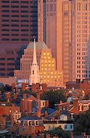Beacon Hill and Park Street Church, telephoto, Boston, MA (MA-063)