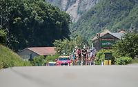 the breakaway group on their way to the HC climb<br /> <br /> stage 7: Aoste &gt; Alpe d'Huez (168km)<br /> 69th Crit&eacute;rium du Dauphin&eacute; 2017