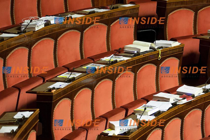 Lega Nord e M5S abbandonano l'Aula. I banchi vuoti<br /> Roma 01-08-2014  Senato. Discussione sul DdL Riforme costituzionali che prevede anche la riforma del Senato. <br /> Photo Samantha Zucchi Insidefoto