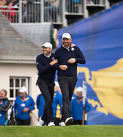 25.09.2014. Gleneagles, Auchterarder, Perthshire, Scotland.  The Ryder Cup.  Sergio Garcia (EUR) and Thomas Bjorn (EUR) soak up the atmosphere on the first hole during his practise round.