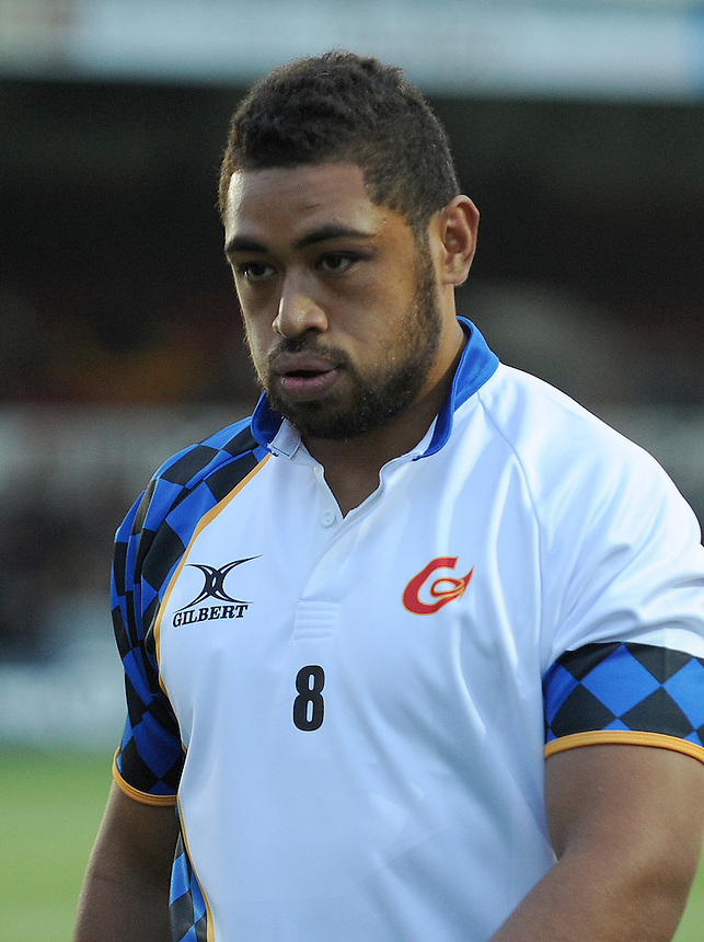 Newport Gwent Dragons Taulupe Faletau during the pre match warm up <br /> <br /> Photographer Ian Cook/CameraSport<br /> <br /> Rugby Union - Guinness PRO12 - Newport Gwent Dragons v Ospreys - Friday 12th September 2014 - Rodney Parade - Newport<br /> <br /> &copy; CameraSport - 43 Linden Ave. Countesthorpe. Leicester. England. LE8 5PG - Tel: +44 (0) 116 277 4147 - admin@camerasport.com - www.camerasport.com