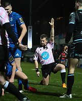 28th February 2020; RDS Arena, Dublin, Leinster, Ireland; Guinness Pro 14 Rugby, Leinster versus Glasgow; Referee Nigel Owens (WRU) awards a try to Leinster