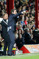 Thomas Christiansen manager of Leeds United gesticulates during the Sky Bet Championship match between Brentford and Leeds United at Griffin Park, London, England on 4 November 2017. Photo by Carlton Myrie.