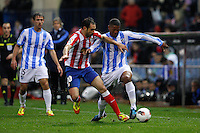 5.05.2012 SPAIN -  La Liga matchday 37th  match played between Atletico de Madrid vs Malaga (2-1) at Vicente Calderon stadium. The picture show Juan Francisco Torres (Spanish midfielder of At. Madrid) and Eliseu Pereira dos (Portuguese defender of Malaga)