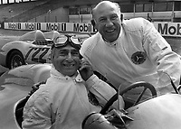 24.04.1991 Goodwood Circuit, England. The British motor racing legend Sir Stirling Moss (r) and Argentine motor racing legend Juan Manuel Fangio (l) posing at Hockenheimring race track in Hockenheim, Germany. Sir Stirling Moss will celebrate his 80th birthday on 16 September 2009.
