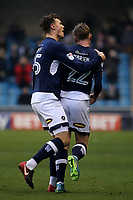 Jake Cooper grabs goalscorer Aiden O'Brien to celebrate Millwall's goal during Millwall vs Preston North End, Sky Bet EFL Championship Football at The Den on 13th January 2018