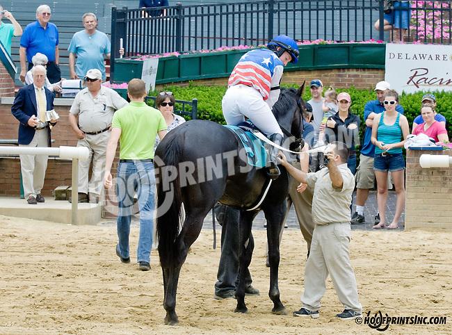 Comancheria with Keri Brion aboard winning The International Ladies Fegentri  at Delaware Park racetrack on 6/9/14