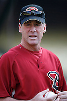 Arizona Diamondbacks Manager Bob Melvin during batting practice before a game from the 2007 season at Dodger Stadium in Los Angeles, California. (Larry Goren/Four Seam Images)