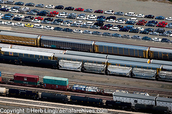 aerial photography rail yard Richmond, Contra Costa county California