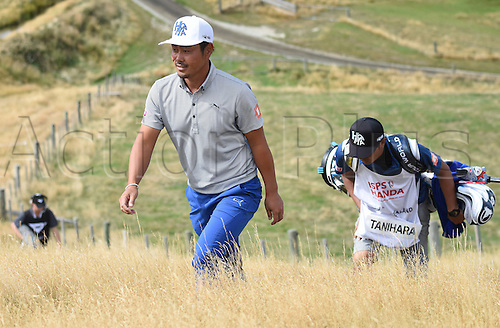 13.03.2016. Arrowtown, New Zealand.  Hideto Tanihara on his way to the 3rd tee during round 4 at The Hills during 2016 BMW ISPS Handa New Zealand Open. Sunday 13 March 2016.