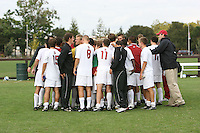 23 September 2007: Stanford Cardinal Brent Stewart, Josh Nesbit, Mark Bartlett, Michael Alexander, Kevin Huang, Michael Strickland, Kyle Hency, Alex Kozachenko, Shaun Culver, Evan Morgan, Thiago Sa Freire, Tom Montgomery, Brant Bishop, Dan Shapiro, Bobby Warshaw, Cameron Lamming, Enrique Allen, T.J. Novak, Andrew Kartunen, Tim Jones, John Moore, Daniel Leon, Ross Porter, Ryan Imamura, Dominique Yahyavi, Scott Bolkan, Taylor Amman, Garrett Gunther, Ryan Thomas, and senior associate athletic director Earl Koberlein during Stanford's 2-0 win against the Davidson Wildcats at Laird Q. Cagan Stadium in Stanford, CA.