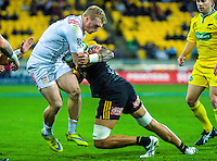 Vaea Fifita tackles Sam McNicol during the Super Rugby semifinal match between the Hurricanes and Chiefs at Westpac Stadium, Wellington, New Zealand on Saturday, 30 July 2016. Photo: Dave Lintott / lintottphoto.co.nz