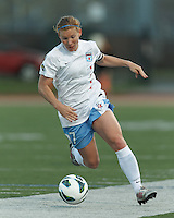 Chicago Red Stars midfielder Lori Chalupny (17) dribbles down the wing. In a National Women's Soccer League Elite (NWSL) match, the Boston Breakers (blue) defeated Chicago Red Stars (white), 4-1, at Dilboy Stadium on May 4, 2013.