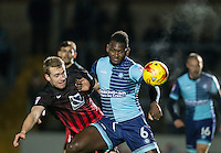 Aaron Pierre of Wycombe Wanderers battles Jack McBean of Coventry City during the The Checkatrade Trophy Southern Group D match between Wycombe Wanderers and Coventry City at Adams Park, High Wycombe, England on 9 November 2016. Photo by Andy Rowland.
