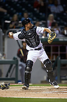 Charlotte Knights catcher Seby Zavala (5) on defense against the Rochester Red Wings at BB&T BallPark on May 14, 2019 in Charlotte, North Carolina. The Knights defeated the Red Wings 13-7. (Brian Westerholt/Four Seam Images)