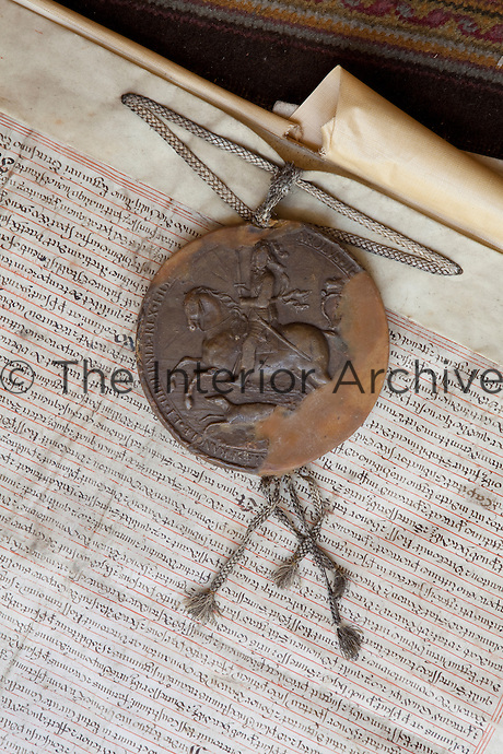 The wax seal on one of the manuscripts in the muniments room