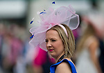 LOUISVILLE, KY - MAY 04: A woman wears a fancy fascinator on Kentucky Oaks Day at Churchill Downs on May 4, 2018 in Louisville, Kentucky. (Photo by Eric Patterson/Eclipse Sportswire/Getty Images)