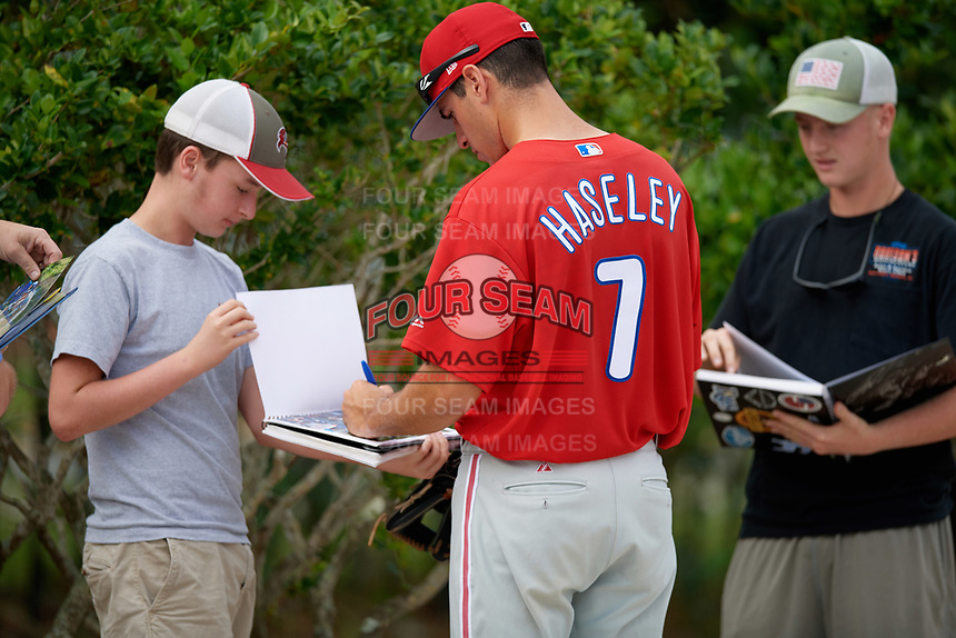 Philadelphia Phillies center fielder Adam Haseley (7) signs autographs before an Instructional League game against the Toronto Blue Jays on October 7, 2017 at the Englebert Complex in Dunedin, Florida.  (Mike Janes/Four Seam Images)