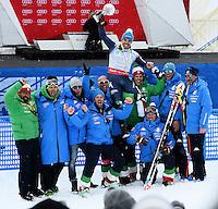 Peter Fill vince la coppa del mondo di Discesa Libera <br /> festeggiato dalla squadra <br /> Saint Moritz 16-03-2016 Sci Alpino <br /> Foto Manuel Lopez / Freshfocus / Insidefoto