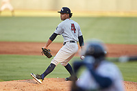 Scranton/Wilkes-Barre RailRiders starting pitcher Deivi Garcia (4) in action against the Gwinnett Stripers at Coolray Field on August 18, 2019 in Lawrenceville, Georgia. The RailRiders defeated the Stripers 9-3. (Brian Westerholt/Four Seam Images)