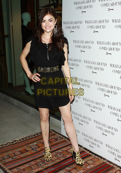 LUCY HALE.WGACA 1 Year Anniversary Party  held at Space15Twenty, Los Angeles, California, USA, 18th March 2010..one arrivals full length black and camel leopard print animal booties shooboots ankle boots heels dress hand on hip waistband waist belt .CAP/ADM/TC.©T. Conrad/AdMedia/Capital Pictures