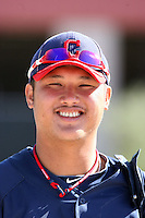 Chun-Hsih Chen #10 of the Cleveland Indians plays in a minor league spring training game against the Cincinnati Reds on March 27, 2011  in Goodyear, Arizona. .Photo by:  Bill Mitchell/Four Seam Images.
