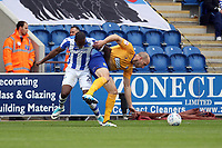 Brandon Hanlan of Colchester United gets to grips with David Mirfin of Mansfield Town during Colchester United vs Mansfield Town, Sky Bet EFL League 2 Football at the Weston Homes Community Stadium on 7th October 2017