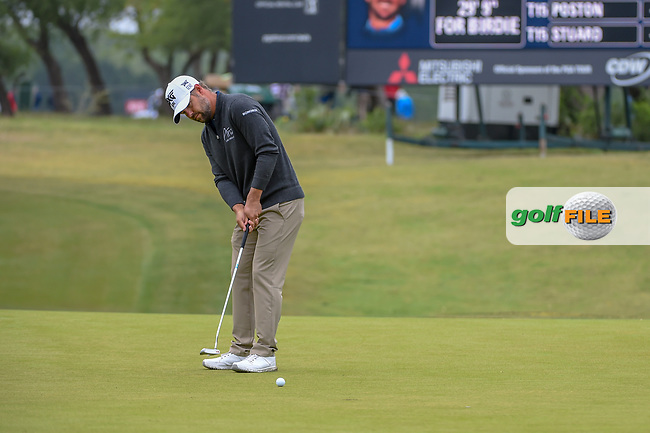 Ryan Moore (USA) watches his putt on 1 during Round 3 of the Valero Texas Open, AT&T Oaks Course, TPC San Antonio, San Antonio, Texas, USA. 4/21/2018.<br /> Picture: Golffile | Ken Murray<br /> <br /> <br /> All photo usage must carry mandatory copyright credit (© Golffile | Ken Murray)